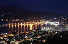 Good night from this island. Zakynthos town from Zakynthos island in Greece.