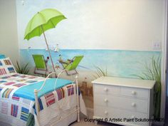 Beach Mural painted on guest  bedroom wall.
