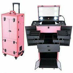 AW Pink Rolling Makeup Case Pro Hair Stylist Barber Artists Case Multifunction Lighted Lockable ** Read more at the image link.
