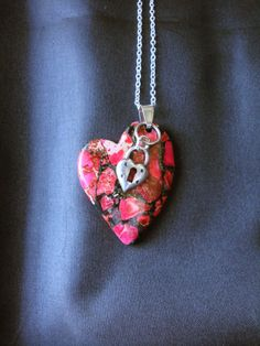 Red Sea Jasper  droopy heart with hemitite by UniquelyArdath, $23.99