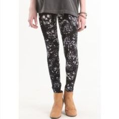 Nollie skull leggings  stretchy skull leggings. Cute paired with boots. Purchased at pacsun. 95% cotton. 5% spandex.  Comments or questions? Make me an offer!!◼️ Nollie Pants Leggings