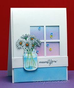 "Search results for ""coloring glass"" Pot Mason, Mason Jars, Mason Jar Cards, Sandy Allnock, Window Cards, Window Boxes, Copic Sketch Markers, Copics, Prismacolor"
