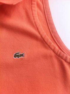 Lacoste Women Casual Sleeveless Polo Orange Shirt Tank Top Collared Size 36 XS 4 #Lacoste #PoloShirt #Casual