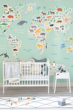 Removable wallpaper world map wallpaper kids wallpaper world map create an enchanting space for your child to grow up in adorable characters from all gumiabroncs Choice Image