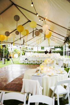 Lemon yellow tent decorations // ROOT 75 flowers & home - coronado, ca
