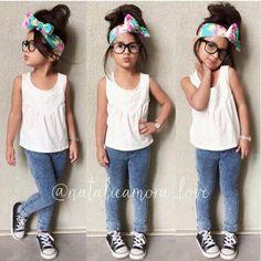 ♔Fashionable and cute kids♔ Little Girl Outfits, Little Girl Fashion, Toddler Outfits, Toddler Girls, Cute Kids Fashion, Toddler Fashion, Retro Fashion, Korean Fashion, Little Fashionista