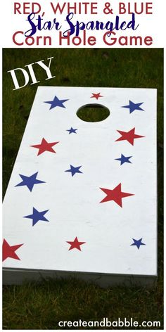 Follow this easy tutorial to build your own DIY cornhole game boards.   Red, white & blue painted cornhole game   How to make cornhole game boards Outdoor Fun, Outdoor Crafts, Outdoor Games, Outdoor Projects, Diy Wood Projects, Diy Cornhole, Cornhole Boards, Corn Hole Game, Patriotic Crafts