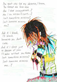 Laughing Jack, sad, crying, color, monochrome, text, Missing, song, lyrics, Evanescence; Creepypasta