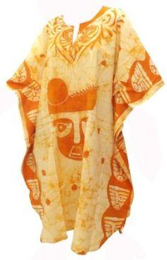 La Leela Yellow Batik Printed Cotton Plus Size Caftan Kaftan La Leela. $39.99
