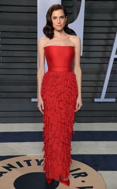 Allison Williams from 2018 Vanity Fair Oscars After-Party  The Get Out actress stood out in the crowd in a bold red strapless design with a feathered bottom.