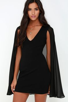 The Back and Better Than Ever Black Cape Dress adds an exciting chiffon cape to a sexy LBD! Medium-weight stretch knit dress has a V neckline and long cape accent. Best Prom Dresses, Event Dresses, Cute Dresses, Short Dresses, Pose, Cape Dress, Short Cocktail Dress, Classy Outfits, Girly Outfits