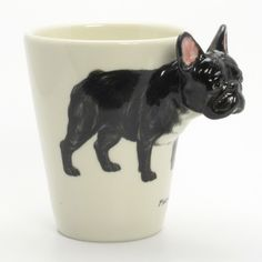Black French Bulldog Ceramic Mug Coffee Cup Gifts Hand Painting 00011