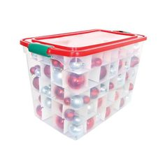 """Mfr #: 3450HORG.06, Color: Clear/Red/Green, Ergonomic handles, Large latches, Stackable designSize:28.75"""" x 16"""" x 18.25"""" Color: Clear/Red/Green."""