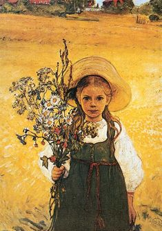 Carl Larsson - Flowers In The Meadow.  I had a framed print of this on my bedroom wall, growing up - it's still one of my favourite paintings, and probably responsible for my love of unstructured flower bouquets.