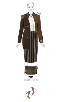 Office outfit: Khaki by downtownblues on Polyvore #officewear  #pussybow #longcardigan #pencilskirt #stripes #ElisabettaFranchi