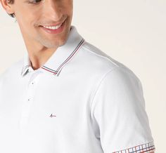 Polo Detalhes Jacquard Xadrez | Compre Online Na Aramis - Aramis T Shorts, Camisa Polo, Polo Shirts, Collar And Cuff, Emporio Armani, Chef Jackets, Fashion Ideas, Menswear, White Plaid