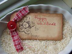 Primitive Valentines Gift Tags Set of 3. $4.00, via Etsy.