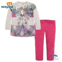 Conjunto de niña MAYORAL sudadera serigrafiada y leggings fresa