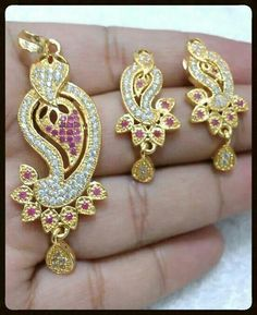Small pendent sets Price: 695+100 shipping charge #elegantfashionwear #smallpendentsets