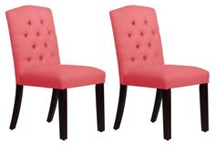 Coral Leo Tufted Side Chairs, Pair - do a mix of dining chair colors at the table to spice it up!