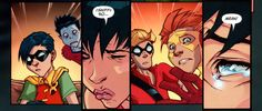 Donna Troy and Roy Harper | all of the boys' facesi love this comic so much ajflke