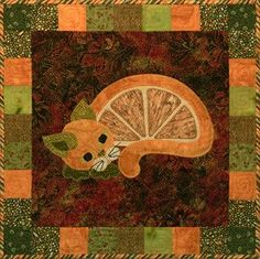 """This is block thirty four of the popular StoryQuilt series, Garden Patch Cats by Helene Knott. The quilt block finishes at 18"""" square. Stuffed Delicata Squash Stuffed Delicata Squashstuffed delicata"""