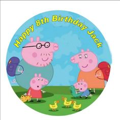 Peppa Pig Personalised 75 Inch Round Icing Cake Topper 3  Party