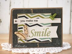 You Make Me Smile card - Laurie Schmidlin  Features the Stamp It Big! set from Gina K. Designs, Illustrated by Carolyn King