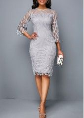 Women Illusion Work Dress Light Grey Knee Length Mock Neck Scalloped Hem Round Neck Three Quarter Sleeve Sheath Dress By Rosewe Round Neck Scalloped Dress With Cardigan, Gray Dress, The Dress, Belted Cardigan, Belted Dress, Lace Sheath Dress, Chiffon Dress, Bodycon Dress, Sheath Dresses