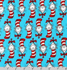 One 1 Yard  Cat in the Hat Head Blue Dr Seuss by ShuShuStyle, $9.95