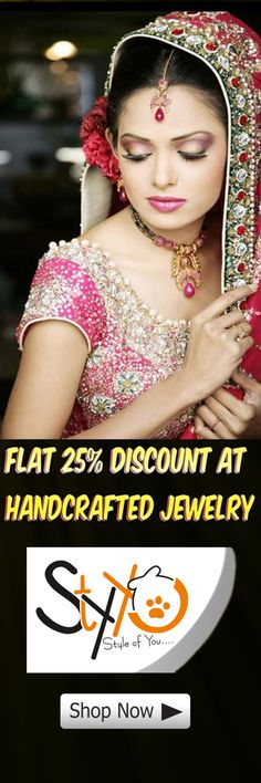 Flat 25% Discount at All Handcrafted Shine Jewelry, Super Shine United Collection   Shop Now☛ http://www.styyo.com/exclusive-jewellery