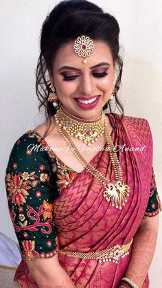 16 ideas south indian bridal makeup hair blouse designs for 2019 Indian Reception, Reception Sarees, Wedding Sarees, Reception Ideas, Saree Hairstyles, Indian Bridal Hairstyles, Wedding Hairstyles, Trendy Hairstyles, Pink Hairstyles