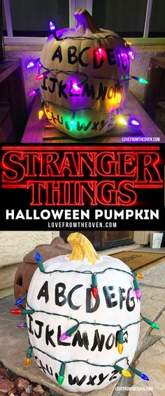 It's so easy to make this Stranger Things Halloween Pumpkin with Christmas lights! Great with a Stranger Things costume!
