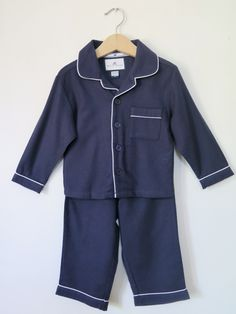 The little man is going to look adorable in these.  Love!  #kidspajamas #petite-plume #luxurysleepwear www.petite-plume.com