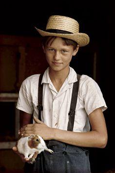 William Albert Allard photo: Amish boy with guinea pig, Lancaster County, Pennsylvania, 1964