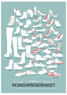 A simple illustrated guide that shows the different types of shoes and their names.