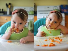 Baby-led weaning steamed carrots and hummus, six months