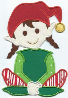 Christmas Elf with Stocking Applique Patch Iron on