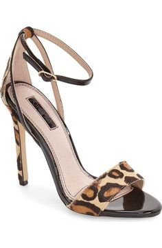 Topshop Raphael New Genuine Calf Hair Leopard Print Sandal (Women) available at #Nordstrom