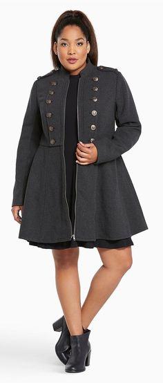 Plus Size Long Military Coat  {affiliate link}