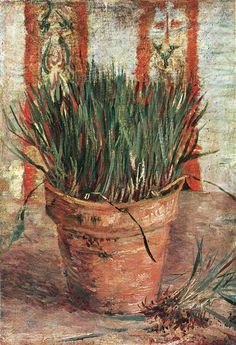 Flowerpot with Chives, 1887 by Vincent van Gogh. Post-Impressionism. flower painting. Van Gogh Museum, Amsterdam, Netherlands