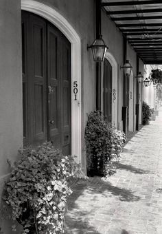 New Orleans Louisiana, Black & White Photo, Burgundy Street, French Quarter by Andy Moine