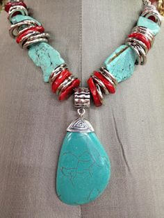Turquoise & Coral Necklace - How beautiful with a basic white t-shirt