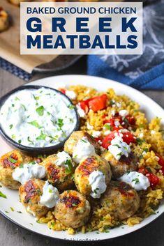 Pork Stew Meat, Stew Meat Recipes, Meat Recipes For Dinner, Easy Meat Recipes, Healthy Recipes, Healthy Eats, Ground Chicken Meatballs, Greek Meatballs, Turkey Meatballs