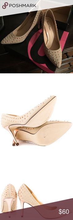 """Last price ‼️MICHAEL ANTONIO CANVAS PUMPs Just add the Michael Antonio Raquelle Natural Canvas Studded Pointed Pumps to your outfit and you're ready to """"Raq"""" and roll! Beige canvas pumps have an earthy texture and a pointed toe, with spiky rose gold studs sprinkled all over. 3.5"""" heel is wrapped in rose gold metallic faux leather, on a single sole. Cushioned insole. Non-skid felted sole, new!! Michael Antonio Shoes Heels"""