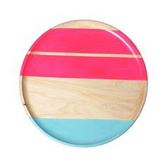 Pastel Wood Plate Pink/Seafoam