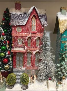 Putz houses from retro to traditional. Add to your Christmas village display with a new putz house that light up. Find your glitter paper putz house here! Spode Christmas Tree, Christmas Mantels, Christmas Paper, Outdoor Christmas, Christmas Projects, Christmas Home, Christmas Decorations, Holiday Decor, Christmas Glitter
