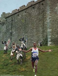 Image detail for -monty-python-run-away.jpg Monty Python: Run Away! Mo Farah, Monty Python, Weekender, Comedy News, Medieval, Photoshop, Filming Locations, Prince Charles, Running Away