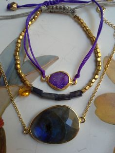 S/ SUMMER 2014 - Labradorite and Iolite and Citrine bracelets - gold plated