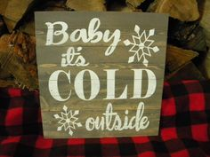Baby It's Cold Outside Vintage Style Wood Painted Sign, Mid Century Christmas Decor Rustic Christmas, Christmas Home, Handmade Christmas, Christmas Gifts, Christmas Decorations, Holiday Decor, Handmade Home, Etsy Handmade, Handmade Crafts